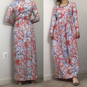 Vintage Dresses - Vintage 1970 Anne Fogarty Knit Floral Maxi Dress